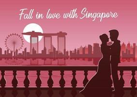 Silhouette des Paares mit Singapur Skyline im Hintergrund vektor