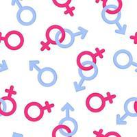 nahtloses Muster von Geschlechtssymbolen von Mann und Frau für die Hochzeit oder den Valentinstag vektor