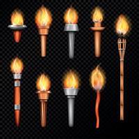 realistische eingestellte Vektorillustration der Feuerfackel vektor