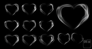 Satz Herzen aus Rauch vektor