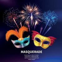 Party Maskerade Feuerwerk Hintergrund vektor