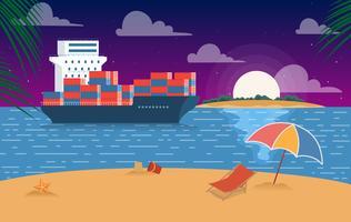 Vektor Vacker sommarlandskaps illustration