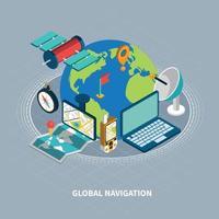 isometrische Illustration der globalen Navigation Vektorillustration vektor