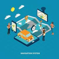 isometrische Illustration des Navigationssystems Vektorillustration vektor