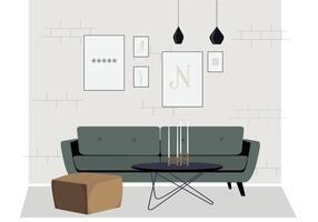 Vektor vardagsrum möbler illustration