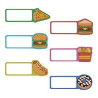 Fast-Food-Haftnotizen Vektor-Design vektor