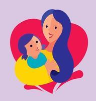 Mutter, die Tochter in den Armen auf Liebesformhintergrund für Muttertagsgruß flaches Design umarmt vektor