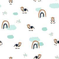 nahtloses Muster des niedlichen gefleckten Kuhfarm-Karikaturtiers auf weißem Hintergrund mit Regenbogen und Wolken vektor