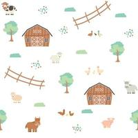 niedliche braune Scheune grüne Bäume Zaun Bauernhof Cartoon Tiere nahtloses Muster auf weißem Hintergrund vektor