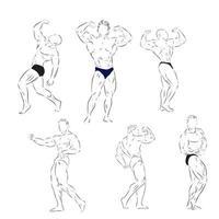 Bodybuilding Design Bodybuilder Vektor Skizze Illustration Sportzeichen