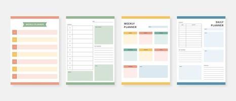 moderne Planer Vorlage Satz von Planer und Liste monatlich wöchentlich täglich Planer Vorlage Vektor-Illustration zu tun vektor