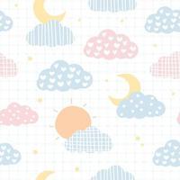 niedliche Sonne und Mondhimmel Pastell Cartoon nahtloses Muster vektor