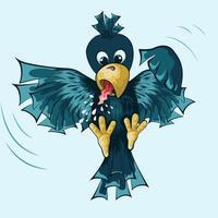 Illustration einer Krähe, die in der Luft schwebt vektor