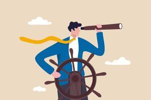 Unternehmensführung und Visionär führen Unternehmenserfolg Smart Businessman Boot Kapitän steuern Lenkrad Helm mit Teleskop Vision vektor