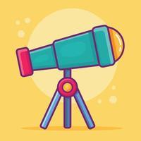 Teleskop isolierte Karikaturillustration im flachen Stil vektor
