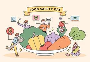 Tag der Lebensmittelsicherheit. Kunden, die nach gesunden und sicheren Lebensmitteln mit frischem Gemüse auf einem riesigen Teller suchen vektor
