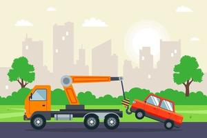 Abschleppwagen, der ein Auto in der flachen Vektorillustration der Stadt schleppt vektor