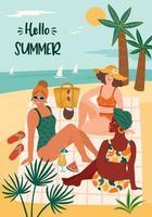 Vektorillustration der Frau im Badeanzug am tropischen Strand. Sommer Holliday Urlaub Reisen vektor
