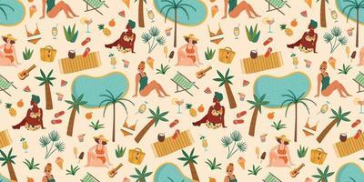Vektor nahtloses Muster mit Frauen im Badeanzug am tropischen Strand. Sommer Holliday Urlaub Reisen
