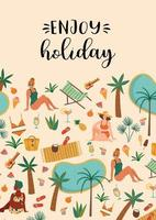 Vektorillustration von Frauen im Badeanzug am tropischen Strand. Sommerferien Urlaub Reisen vektor