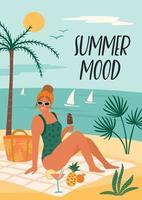 Vektorillustration der Frau im Badeanzug am tropischen Strand. Sommerferien Urlaub Reisen vektor