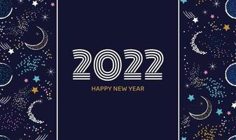 Frohes neues Jahr 2022 der Postkarte oder des Banners in der dunkelblauen Farbe mit festlichem Hintergrund des Raumelementvektors vektor