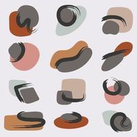 Ein Satz zeitgenössischer Grafikformen kritzelt abstrakte Objekte und trendige geometrische Formen auf dem japanischen Motiv kreative handgezeichnete kritzelt primitiven Vektorstil vektor