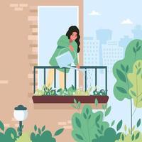 junge Frau, die Blumen auf dem Balkon wässert, der sich um flache Vektorillustration der Zimmerpflanzen kümmert vektor