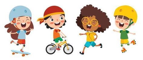 glückliche Kinder, die verschiedene Sportarten machen vektor