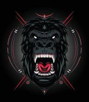 Vektorkopf eines Gorillas mit wütendem Gesicht für Maskottchen-T-Shirt-Bekleidung vektor