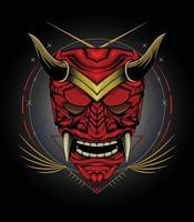 japanische Illustrationskultur mit Samurai-Maskenentwurfsschablone vektor