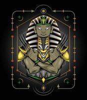 Pharao Tutanchamun mit heiligem Ornamentdesign für Bekleidungswaren vektor