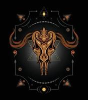 Ziegenkopf mit mythischem Symbol vektor