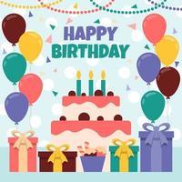platt och färgglada födelsedag firande koncept vektor