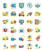 Set mit 30 flachen Stil-Symbolen für Schutz und Sicherheit vektor