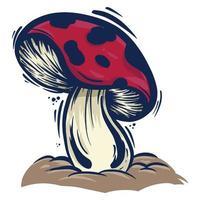 Karikaturhandzeichnung der roten Pilzpflanzenvektorillustration vektor
