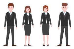 junges glückliches Geschäftsmann- und Geschäftsfrauencharakterteam, das Geschäftsausstattung steht und isoliert aufwirft vektor
