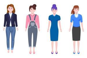 junger glücklicher Geschäftsfrauencharakter, der Geschäftsausstattung steht und isoliert aufwirft vektor