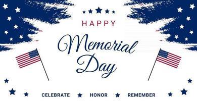 USA Memorial Day Grußkarte oder Banner mit einer Flagge und Sternen vektor
