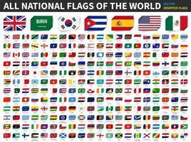 Alle Nationalflaggen der Welt fügten Papierflaggen-Designelementvektor ein vektor