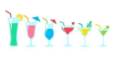 Vektor Cocktail Glas bunte alkoholische Säfte hilft, im heißen Sommer frisch zu bleiben
