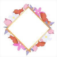tropische Blumen um einen weißen Rahmen kopieren Raum hellen abstrakten Hintergrund für Banner Flyer oder Cover mit Kopie Raum für Text oder Emblem vektor