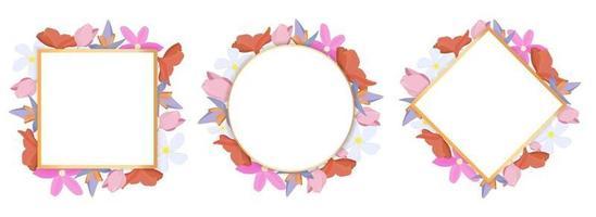 tropische Blumen setzen um einen weißen Rahmen kopieren Raum hellen abstrakten Hintergrund für Banner Flyer oder Cover mit Kopie Raum für Text oder Emblem vektor