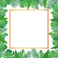 tropische Blätter um einen weißen Rechteckrahmen kopieren Raum hellen abstrakten Hintergrund für Banner Flyer oder Cover mit Kopie Raum für Text oder Emblem vektor