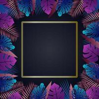 exotischer tropischer Vektor um einen Rahmen mit hawaiianischen Pflanzen und Blumen dunkles indigofarbenes tropisches Muster mit Monster- und Sabalpalmenblättern