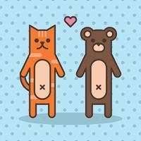 Schöne Katze und Bär vektor