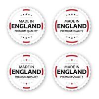 Satz von vier englischen Etiketten hergestellt in England Premium-Qualität Aufkleber und Symbole mit Sternen einfache Vektor-Illustration isoliert auf weißem Hintergrund vektor