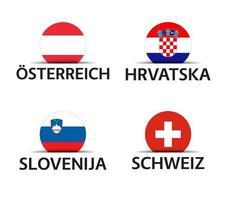 österreich kroatien slowenien und die schweiz satz von vier österreichischen kroatischen slowenischen und schweizer aufklebern einfache ikonen mit fahnen lokalisiert auf einem weißen hintergrund vektor