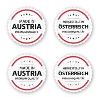 Satz von vier österreichischen Etiketten, hergestellt in Österreich in deutschem Besitz in Österreich Premium-Qualitätsaufkleber und -symbole mit Sternen einfache Vektorillustration lokalisiert auf weißem Hintergrund vektor