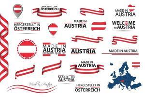 großer Vektorsatz österreichischer Bänder Symbole Symbole und Flaggen isoliert auf einem weißen Hintergrund gemacht in Österreich Premium-Qualität österreichischen Nationalfarbensatz für Ihre Infografiken und Vorlagen vektor